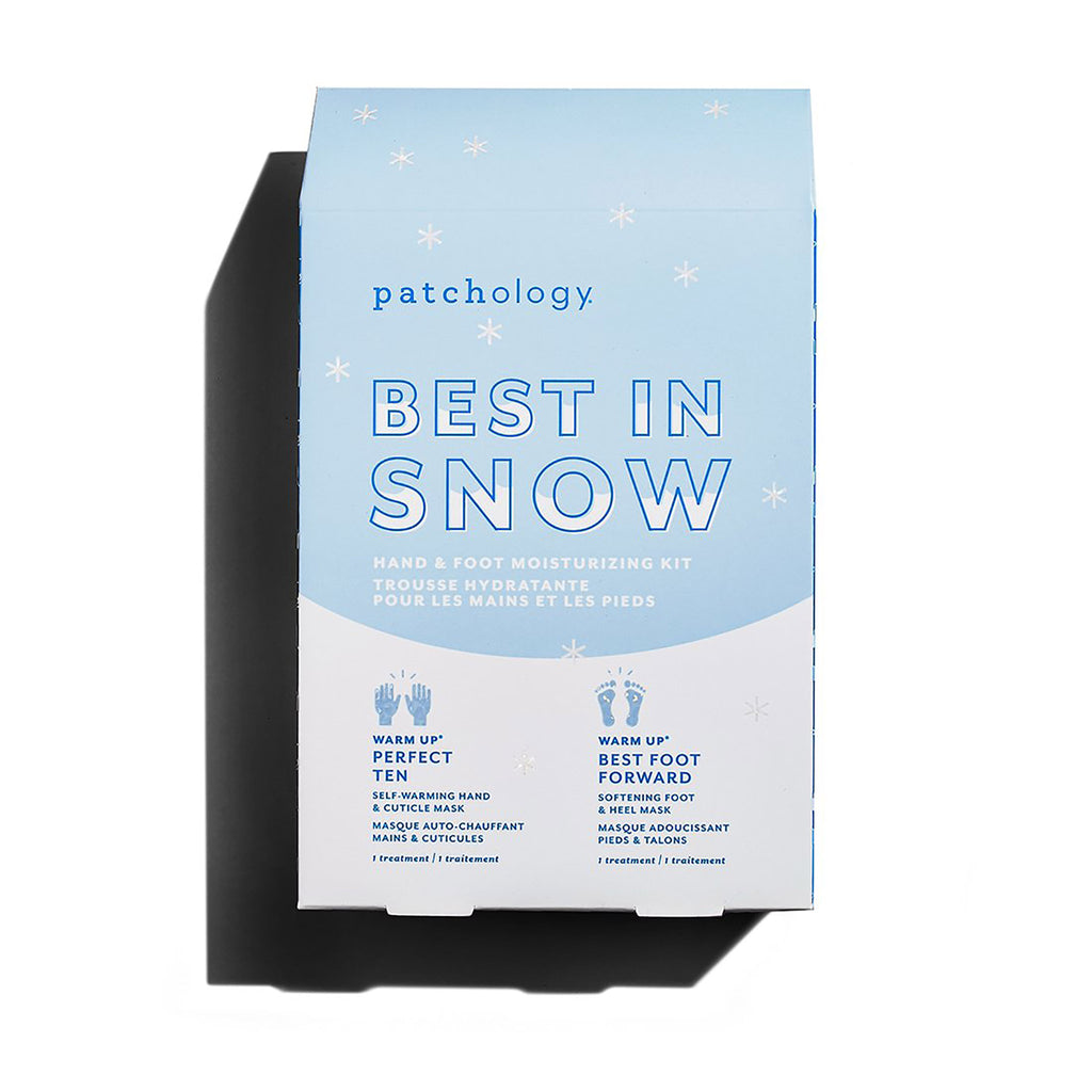 best in snow hand and foot care kit in blue and white box with snowflakes