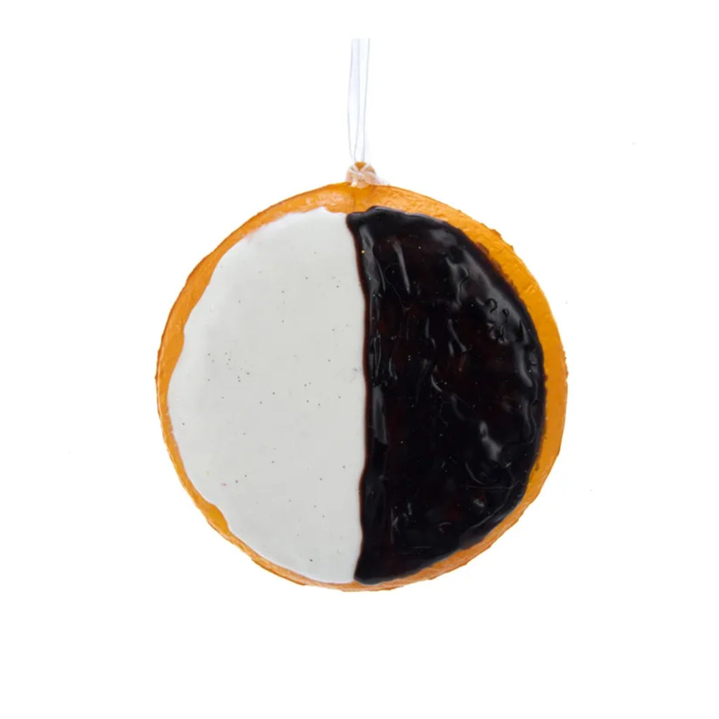 cookie with half white and half black icing soft foam ornament