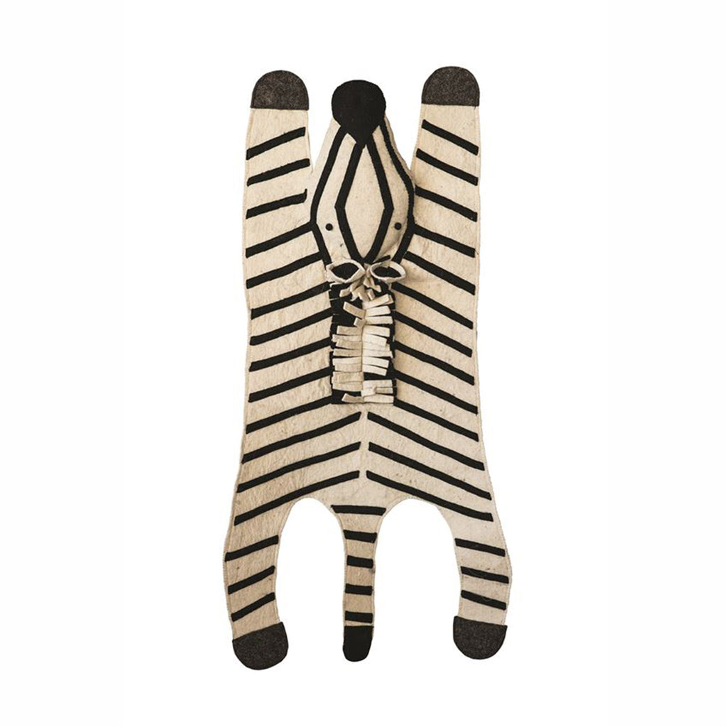 bloomingville black and white wool felt zebra decorative rug