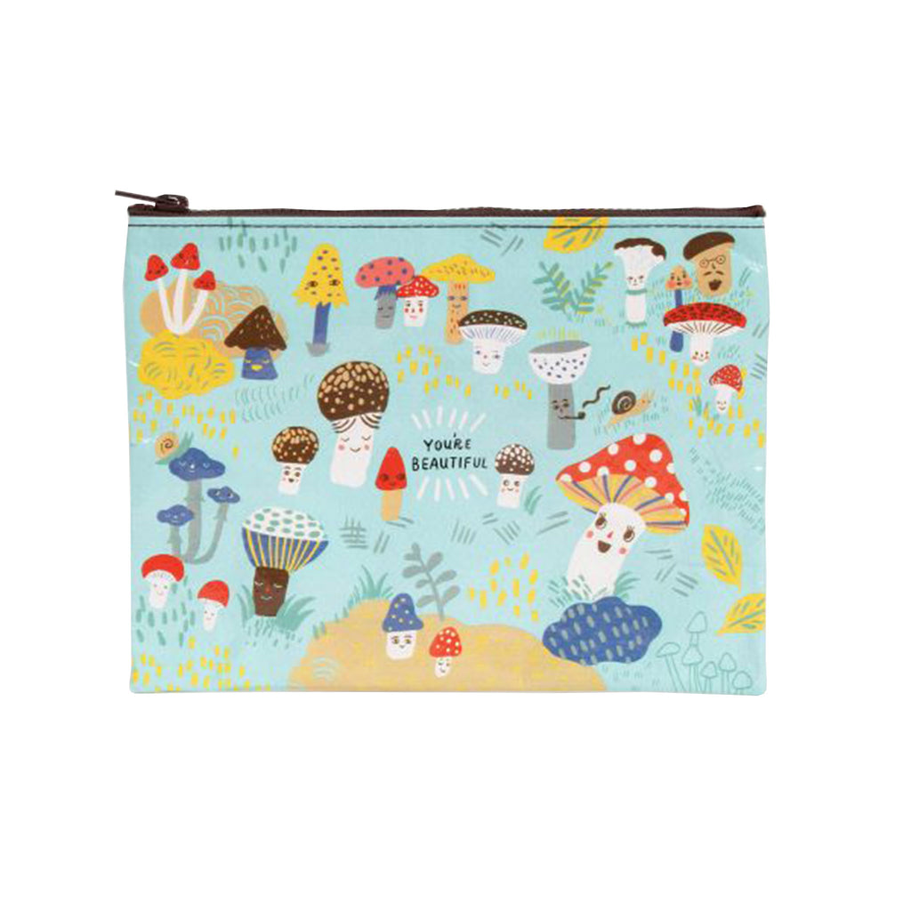 "blue q cute lil mushrooms ""you're beautiful"" zipper pouch"