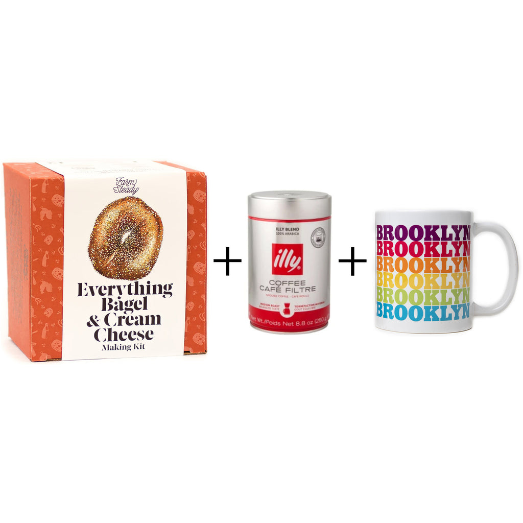 breakfast is served gift box with everything bagel cream cheese DIY kit illy coffee and brooklyn rainbow drop ceramic mug