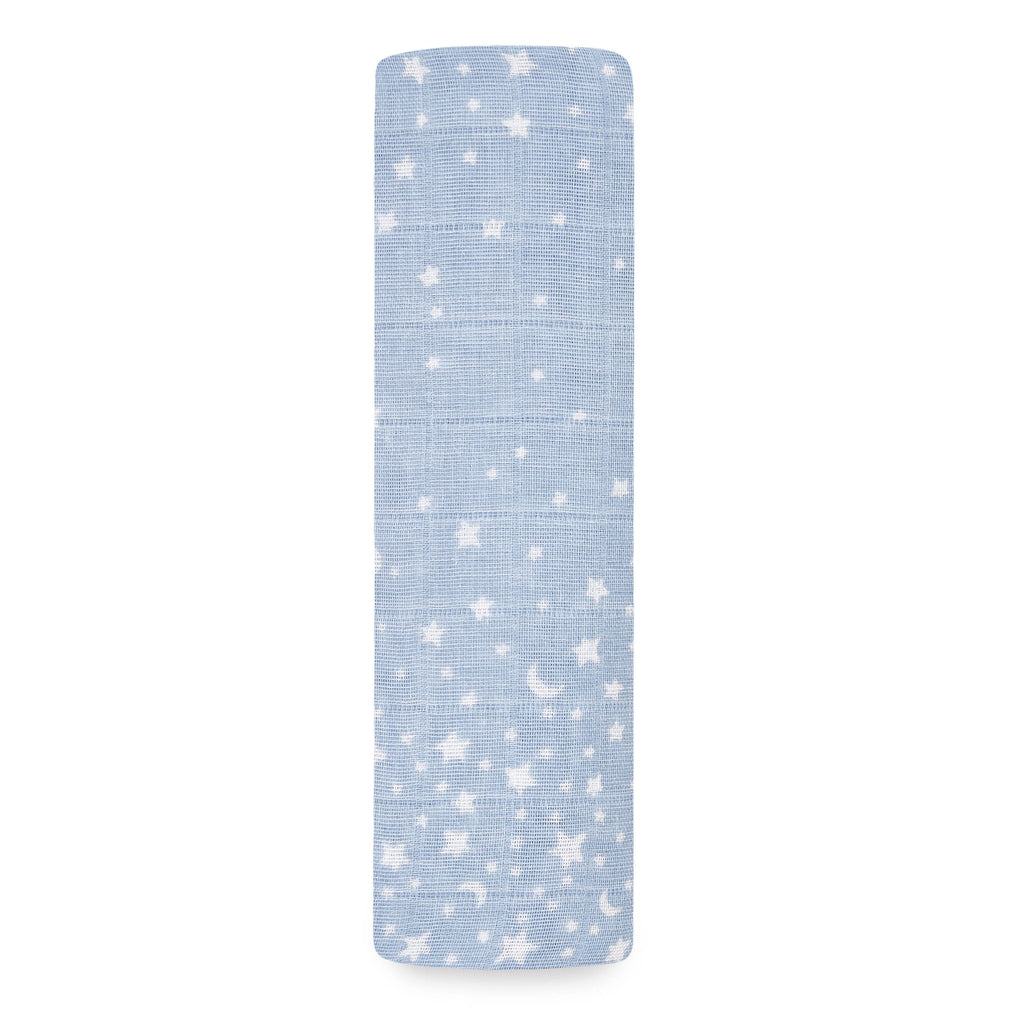 blue swaddle with white stars and moons