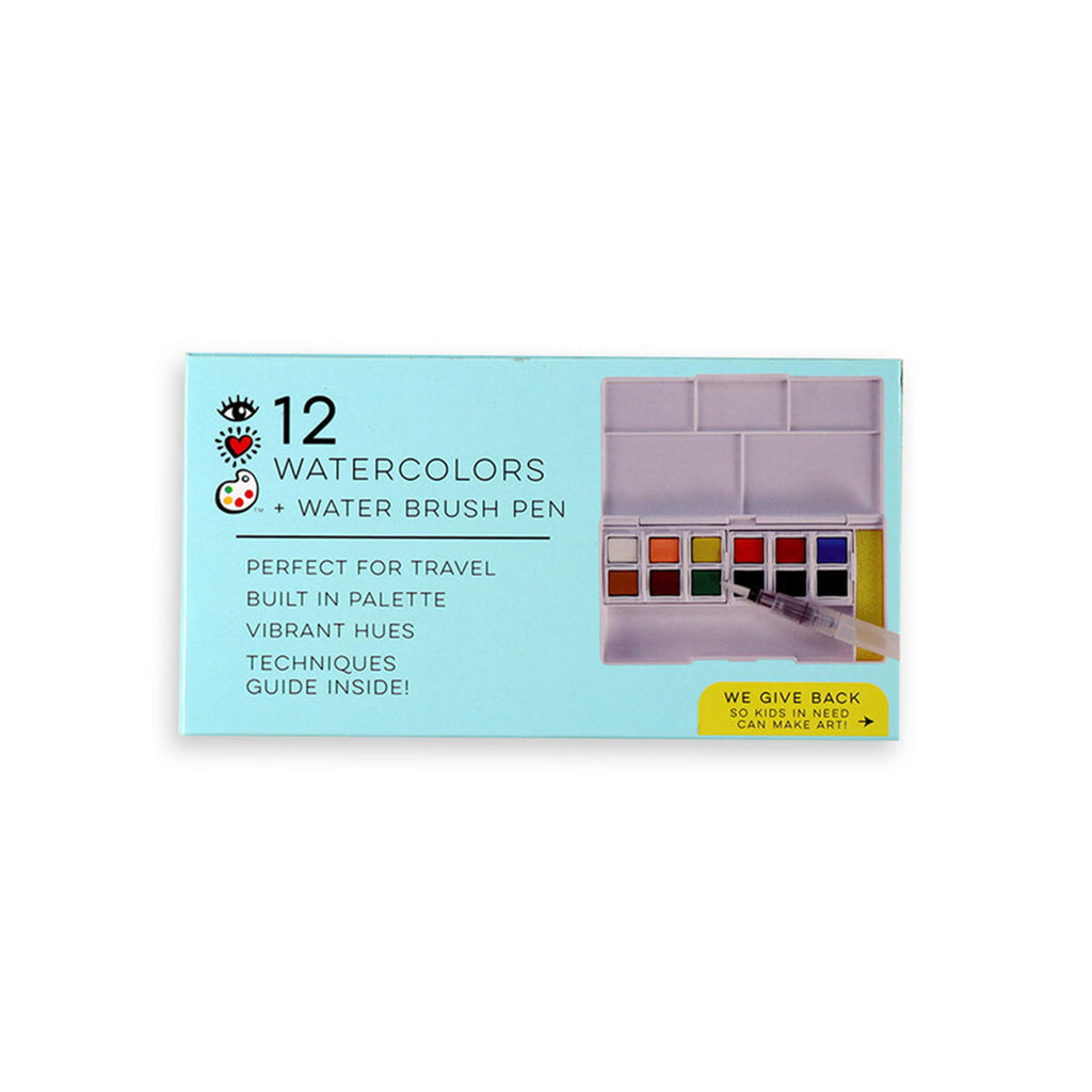 bright stripes iheart art 12 watercolor paint palette set with water brush pen in packaging