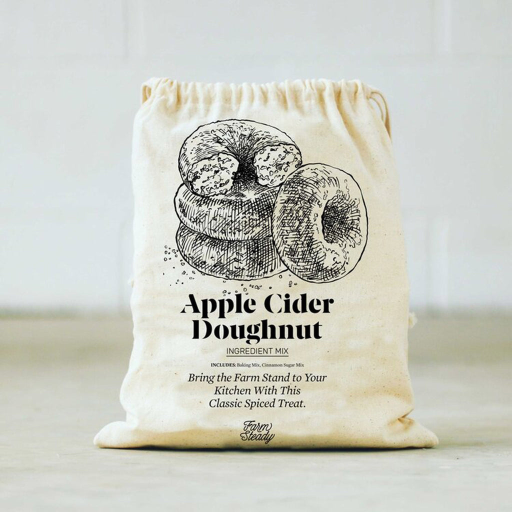 brooklyn brewshop farm steady apple cider doughnut baking mix in drawstring pouch packaging
