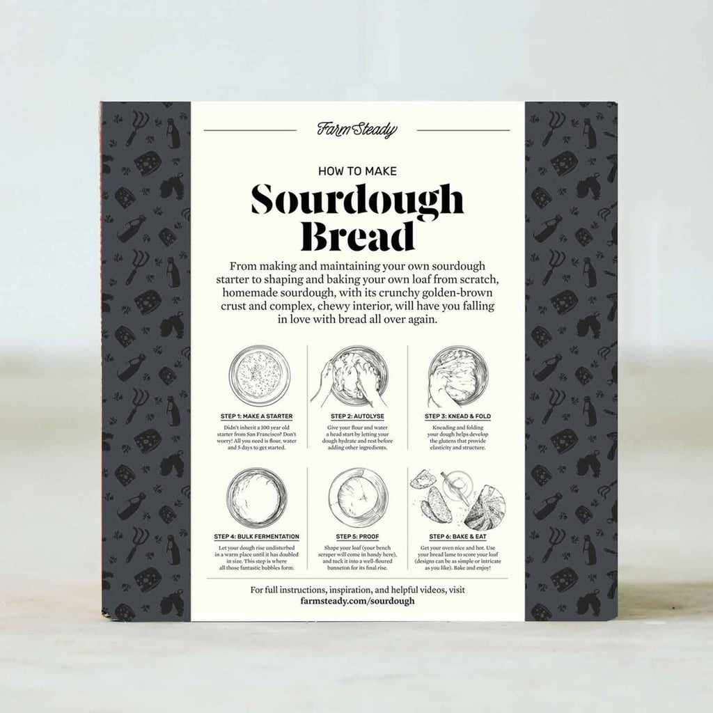 brooklyn brew shop farm steady sourdough bread making kit in packaging box back with instructions
