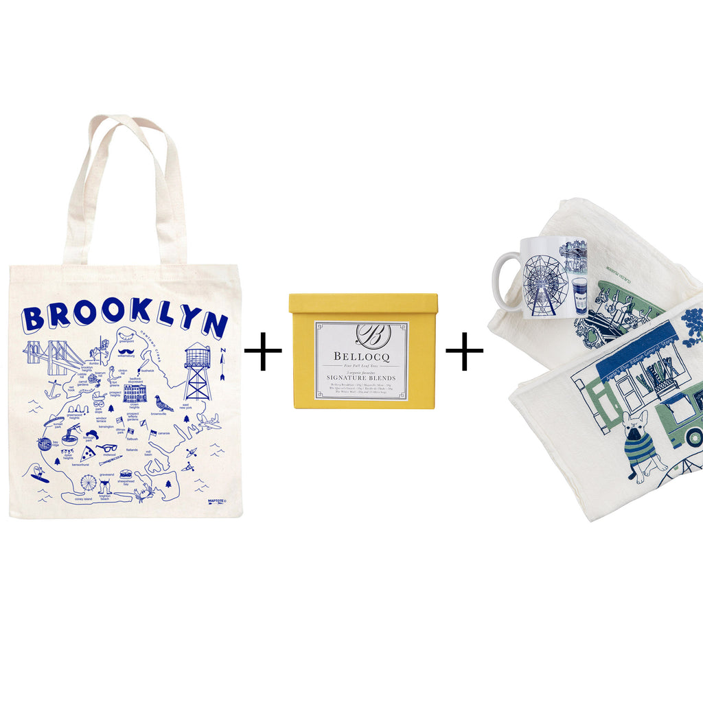 brooklyn tea gift box with maptote canvas brooklyn tote bellocq tea blends sample box abrgs ceramic mug and towel designed by claudia pearson