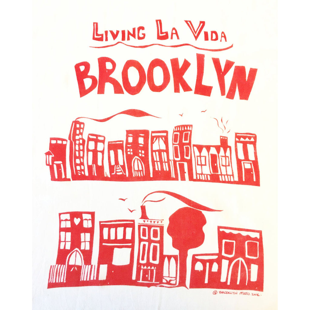 living la vida brooklyn red kitchen towel
