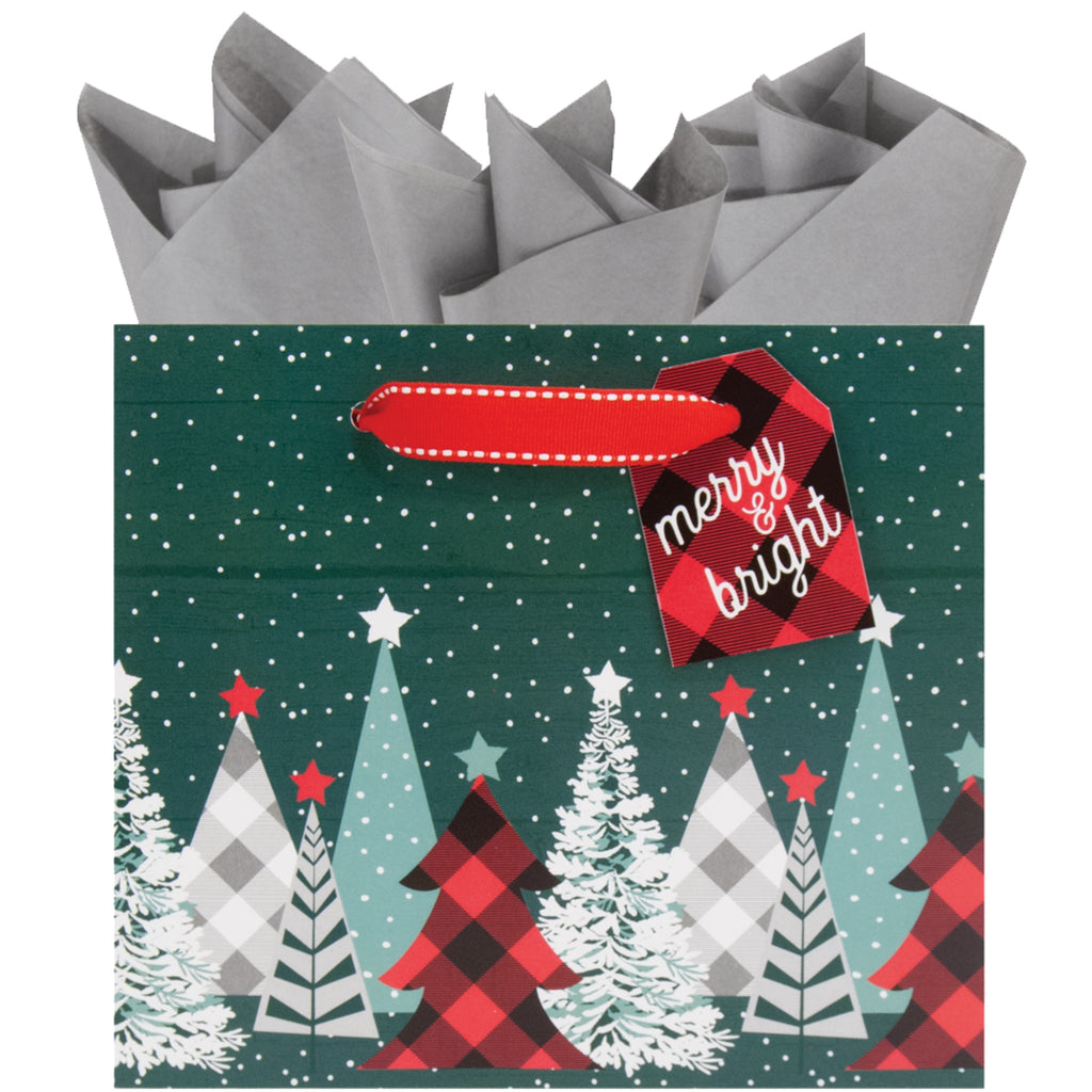 small green gift bag with pine trees in assorted buffalo plaid patterns