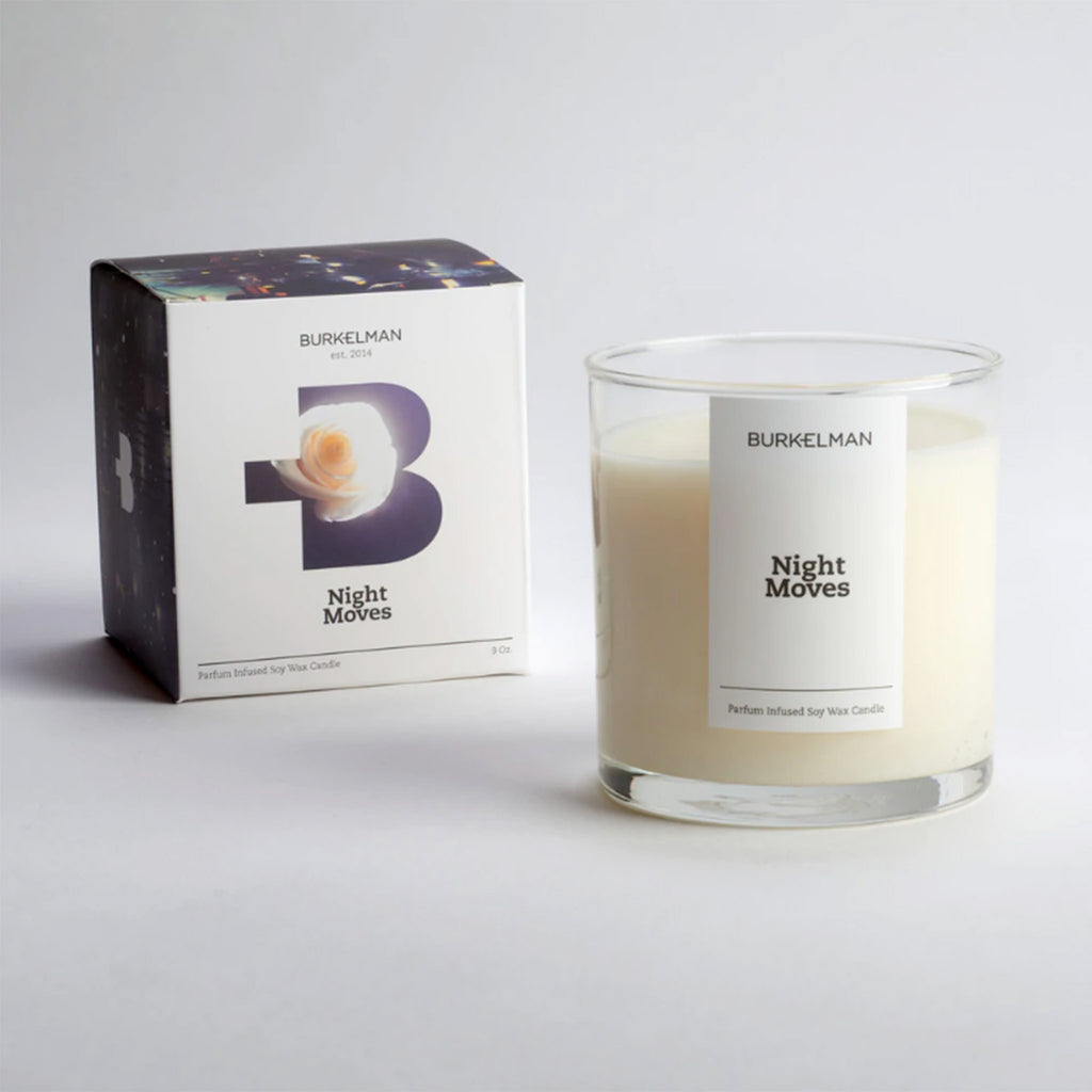 burkelman night moves scented soy wax candle with box