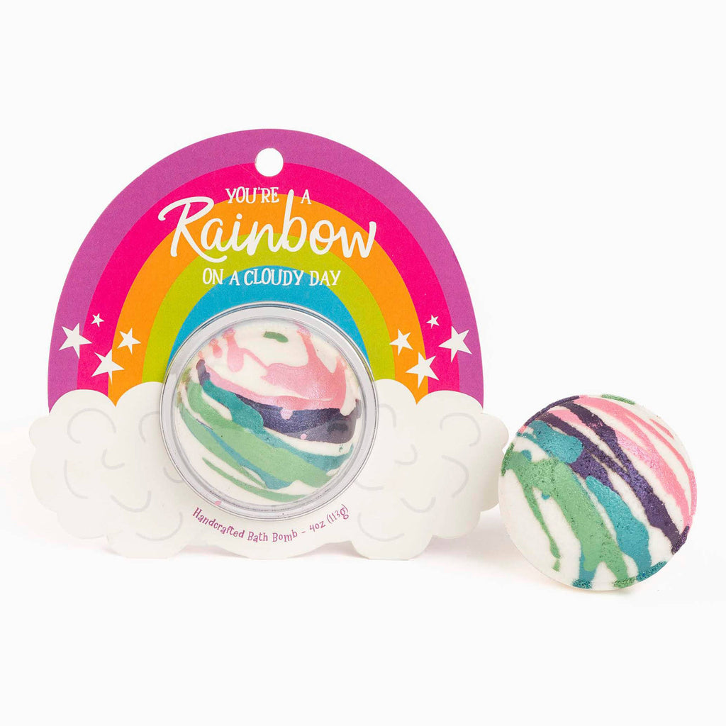 cait + co you're a rainbow on a cloudy day handcrafted scented bath bomb fizzer with packaging