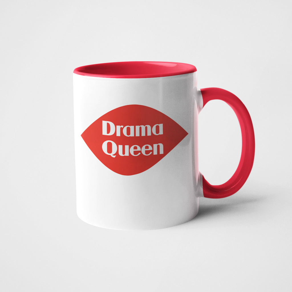 calm down caren drama queen white with red ceramic coffee mug