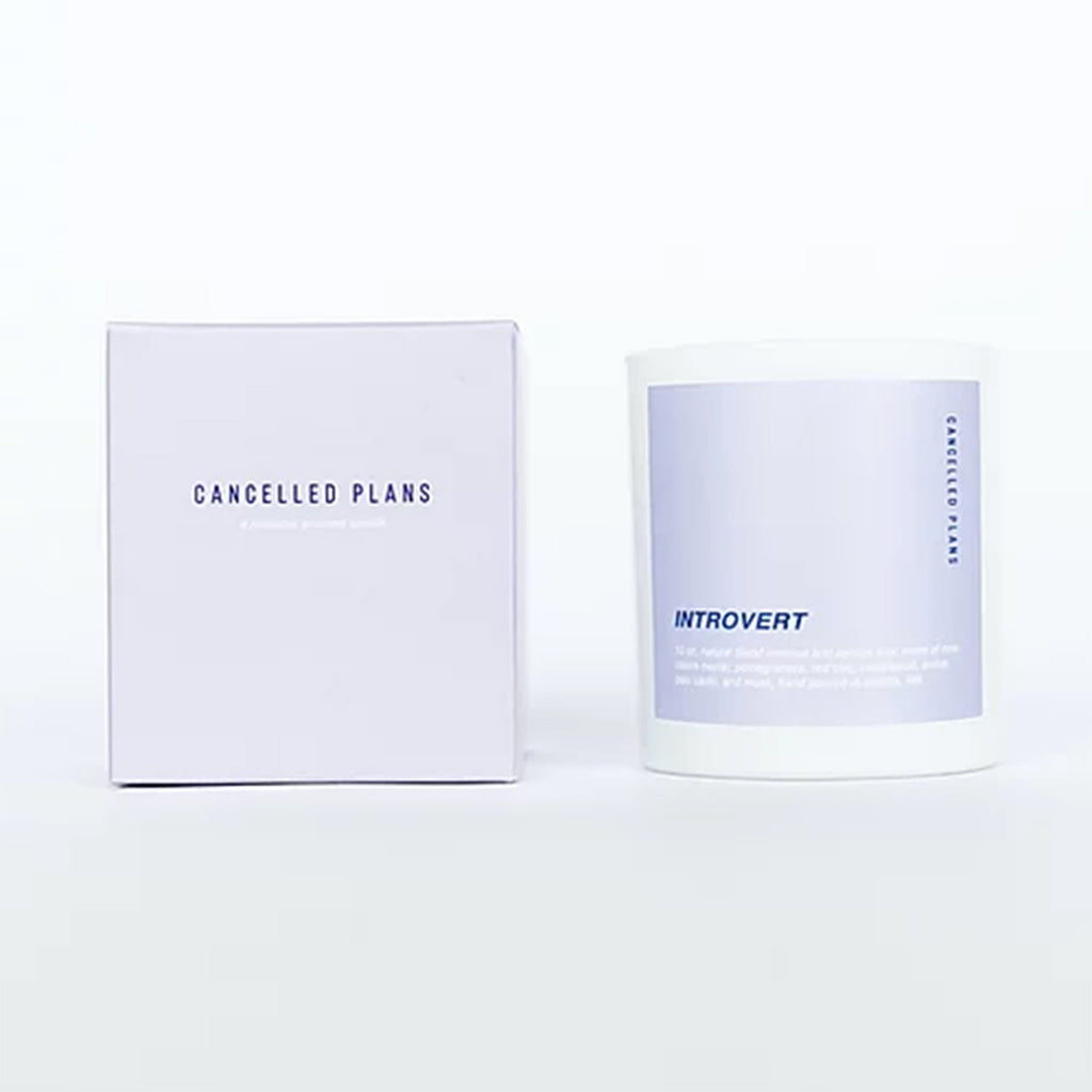 cancelled plans introvert scented coconut apricot wax candle in white glass tumbler with lilac colored label and box
