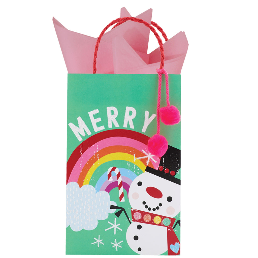 small green gift bag with rainbow, snowman, and the word Merry