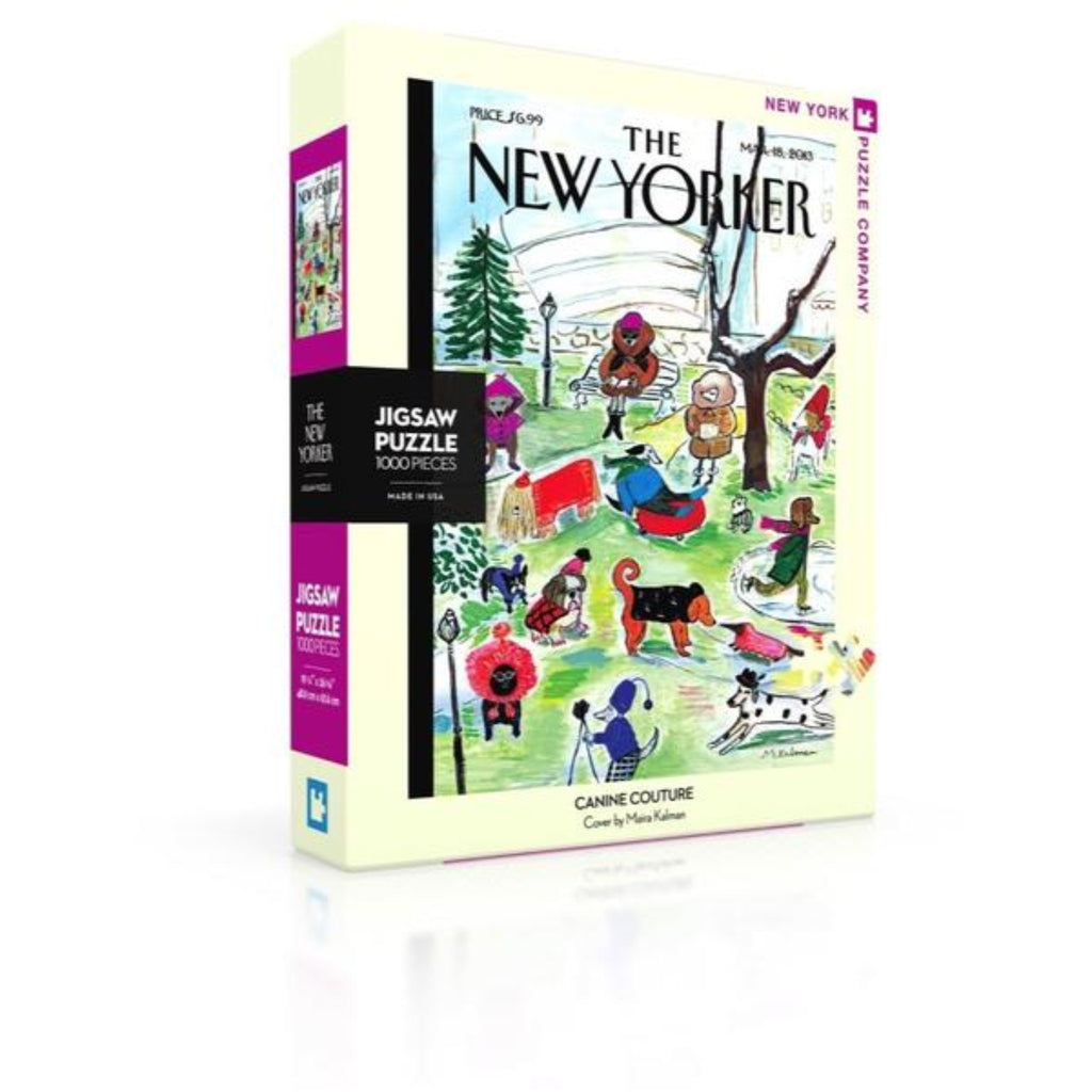 puzzle box with new yorker cover illustration of a park with dogs in various outfits