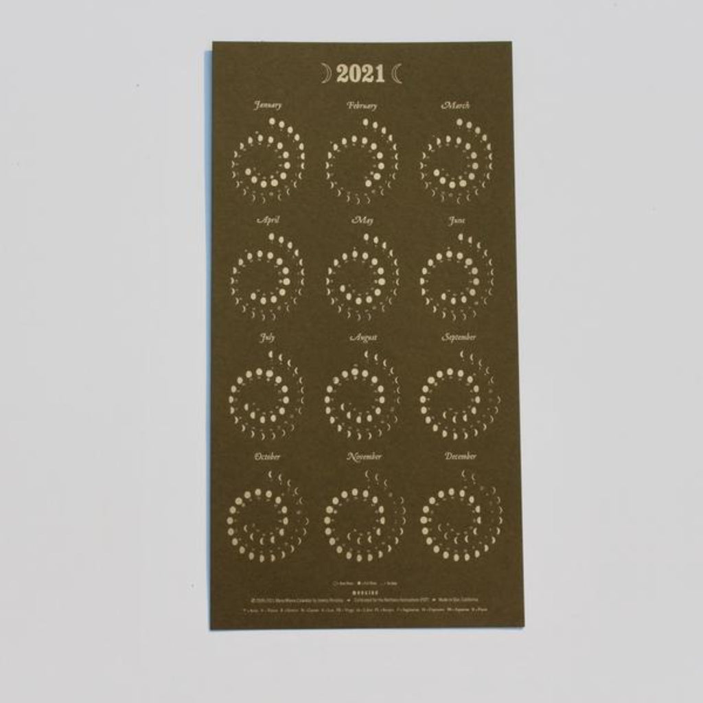 rectangular poster showing 2021 phases of the moon by month on olive green background