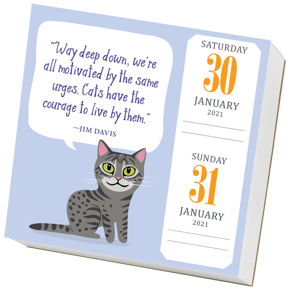sample page of cat trivia page a day calendar with color illustration of grey tabby cat with lavender background