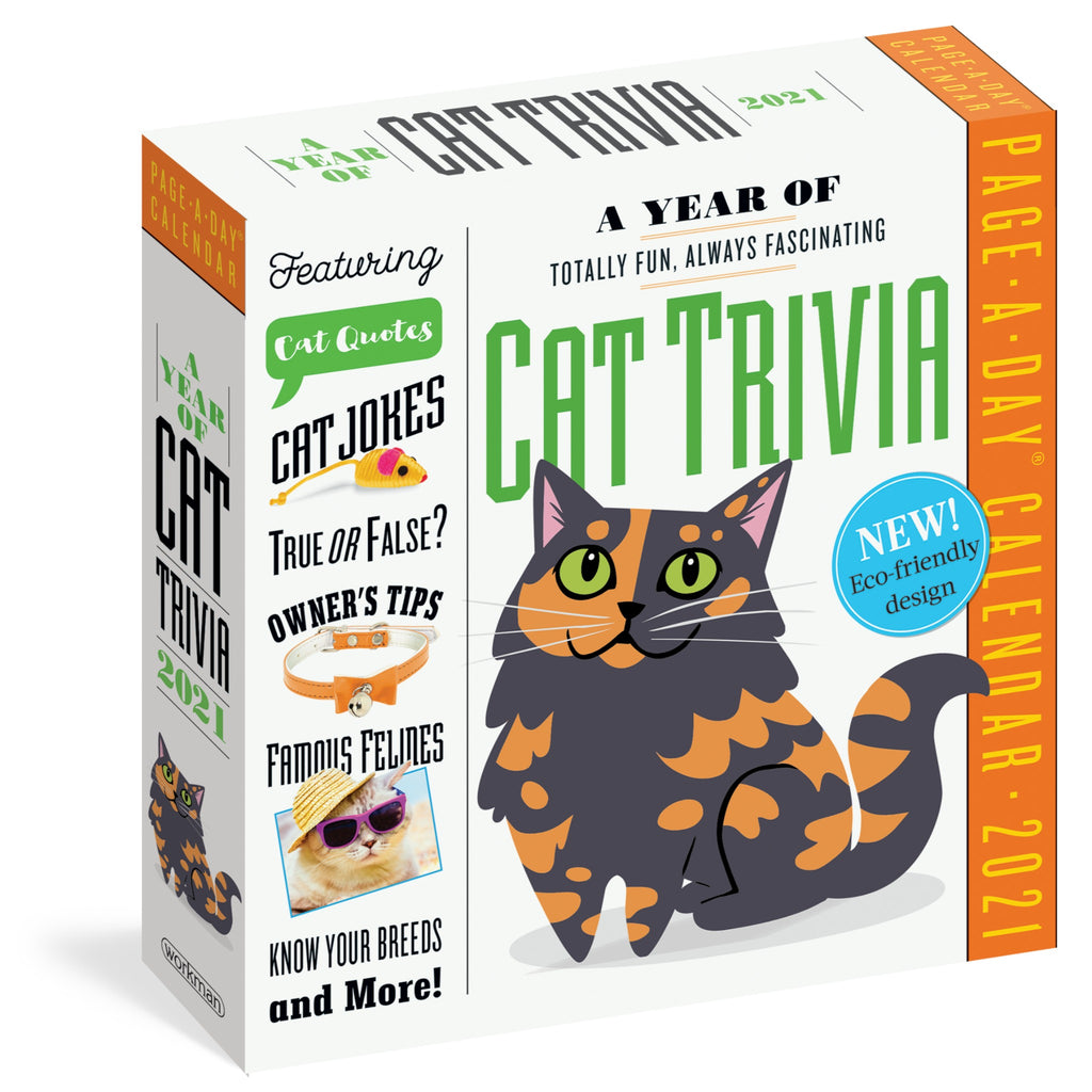cat trivia page a day calendar in white box with green and black text and illustration of grey and orange calico cat