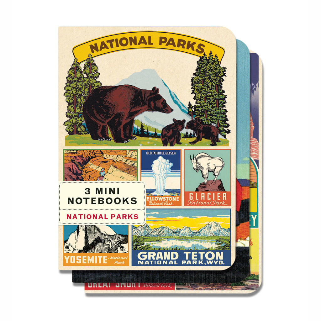 cavallini national parks mini notebooks journals set of three