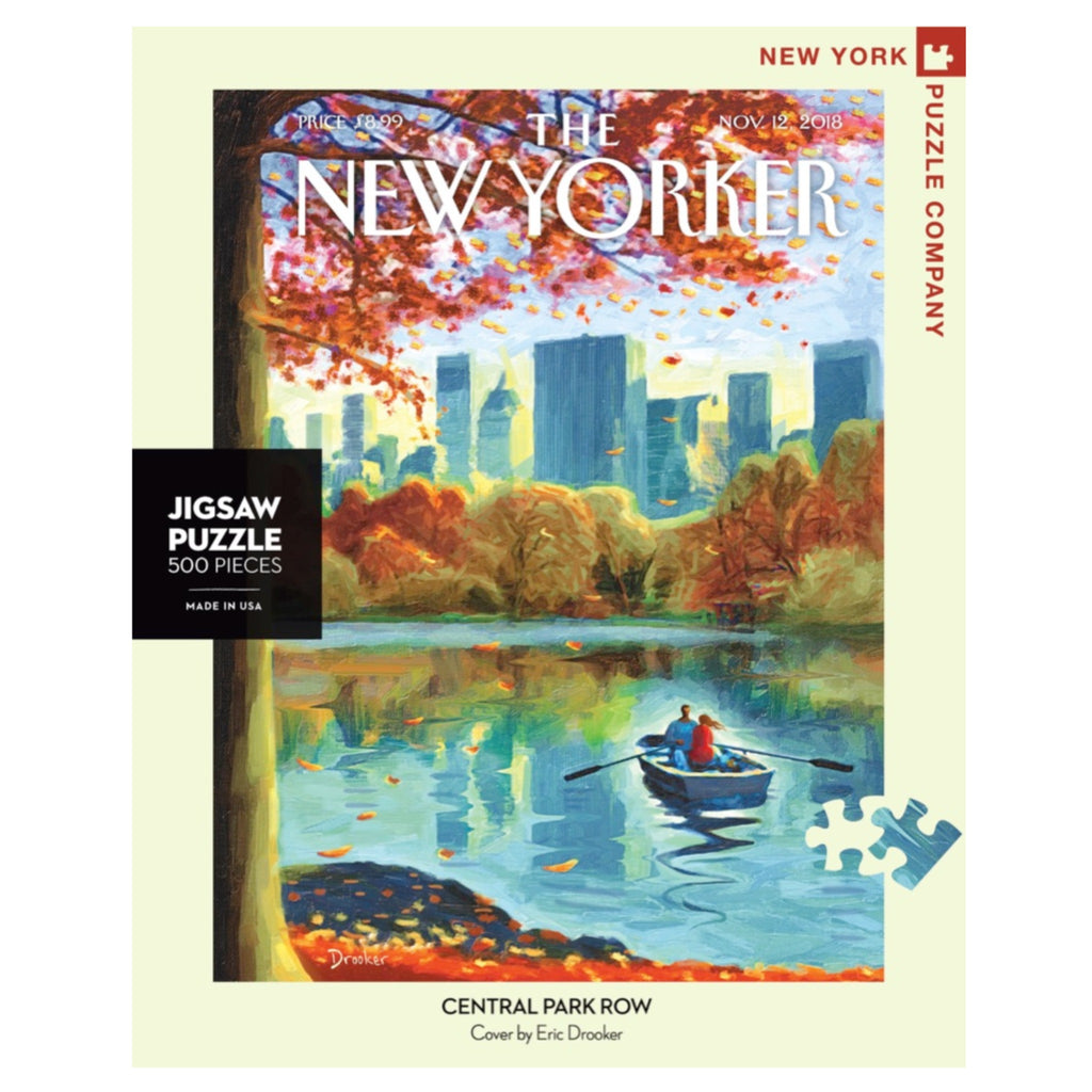 new yorker cover puzzle of two people rowing a boat in central park in the fall