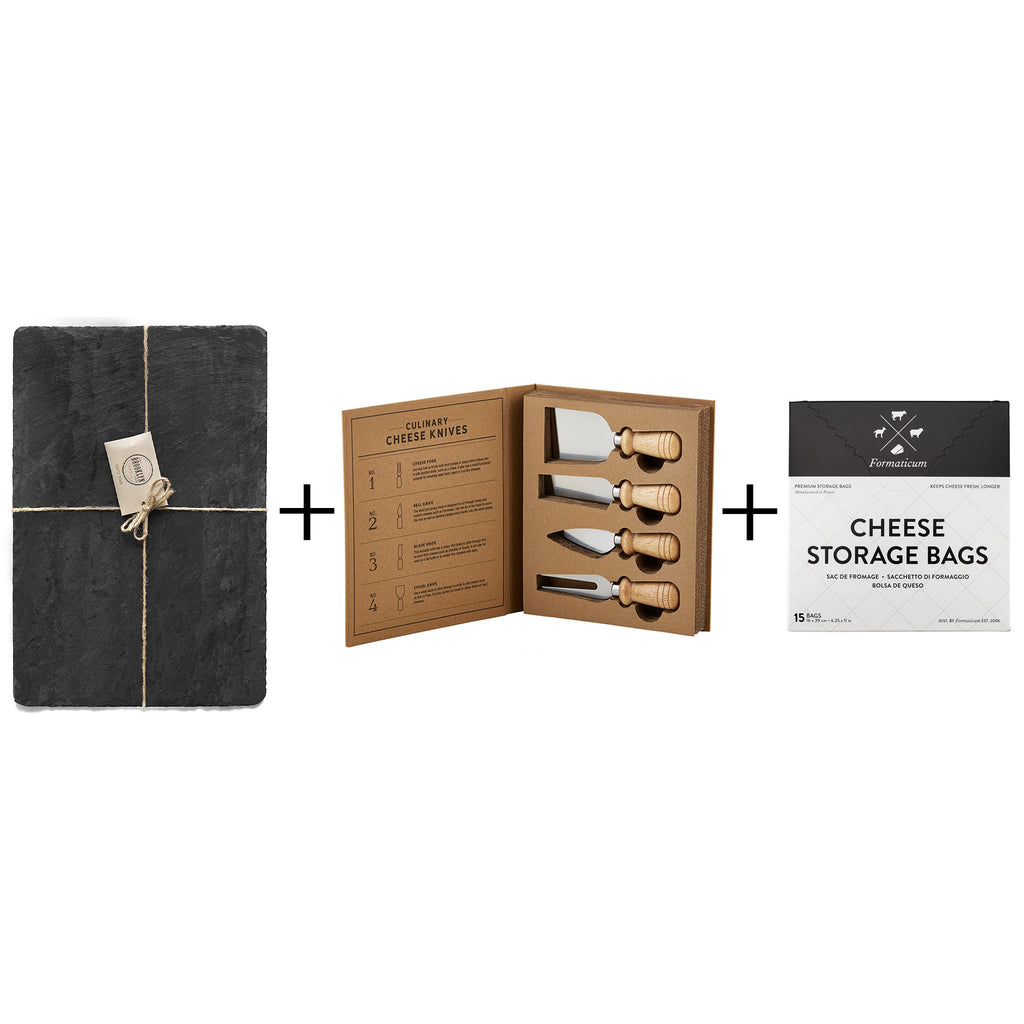 cheese course gift box with brooklyn slate black cheese board santa barbara designs cheese knives and formaticum cheese storage bags