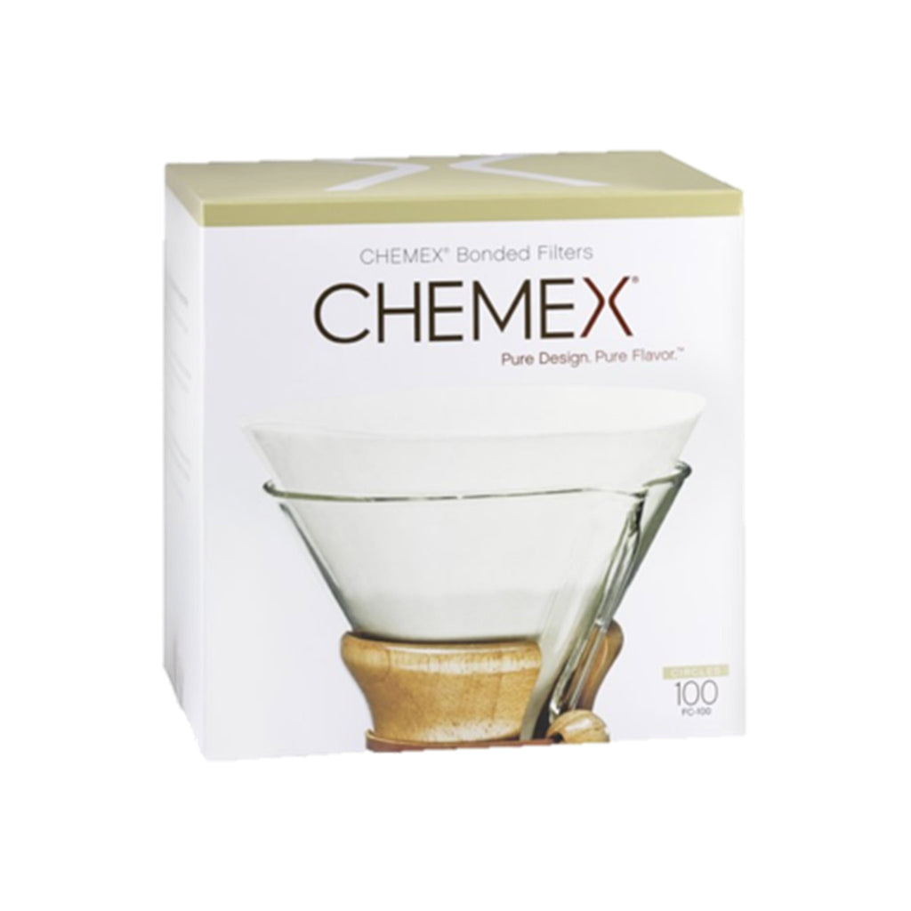 chemex classic fs-100 bonded coffee filters pre-folded squares in packaging
