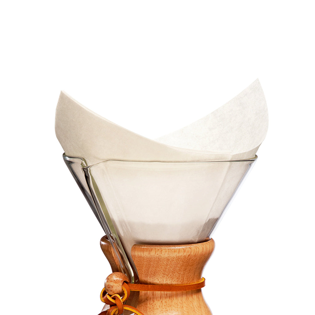 chemex classic fs-100 bonded coffee filters pre-folded squares in use
