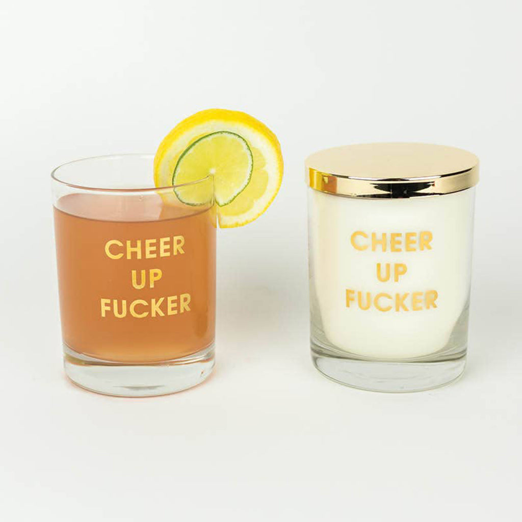 chez gagne cheer up fucker scented candle in rocks glass with beverage