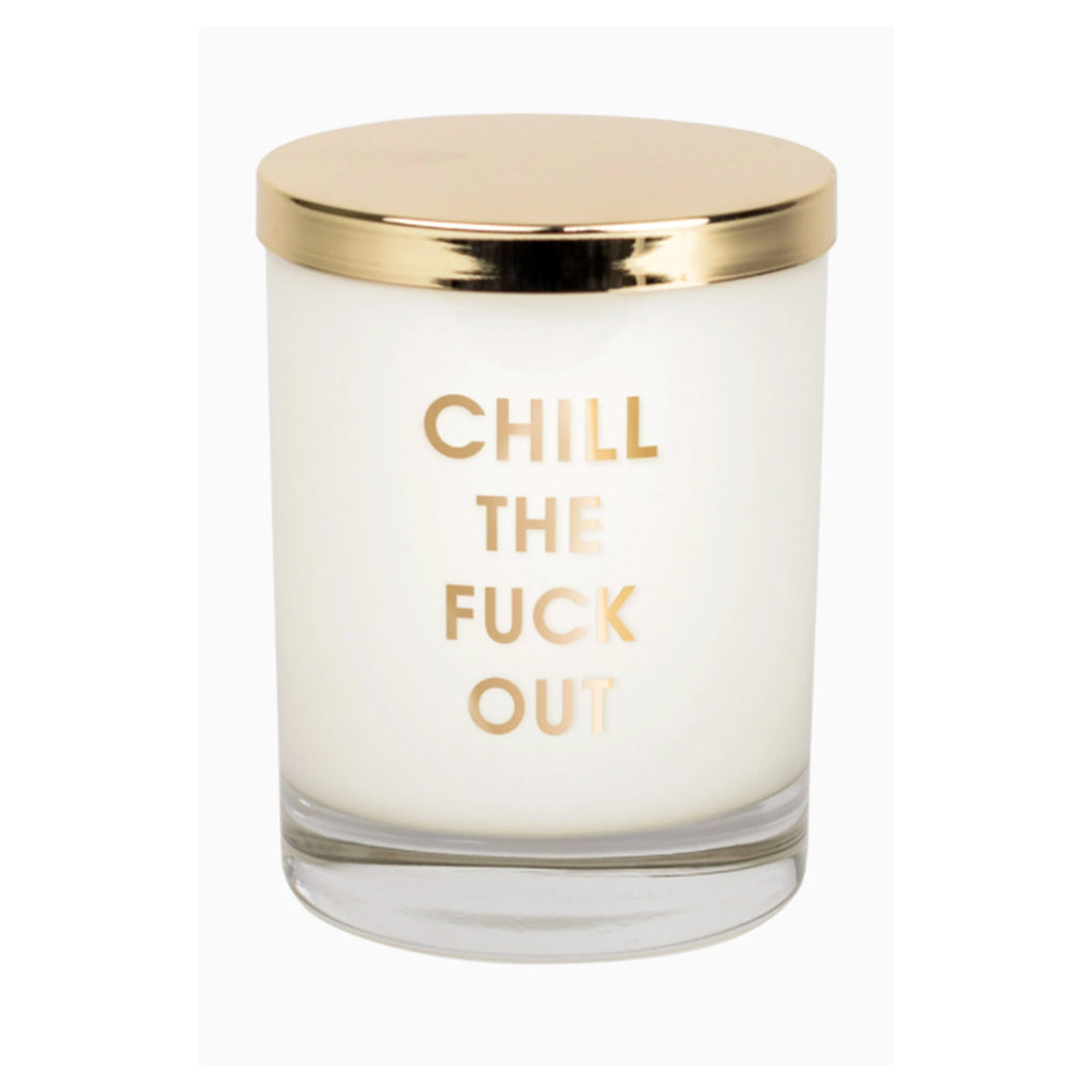chez gagne chill the fuck out candle in rocks glass