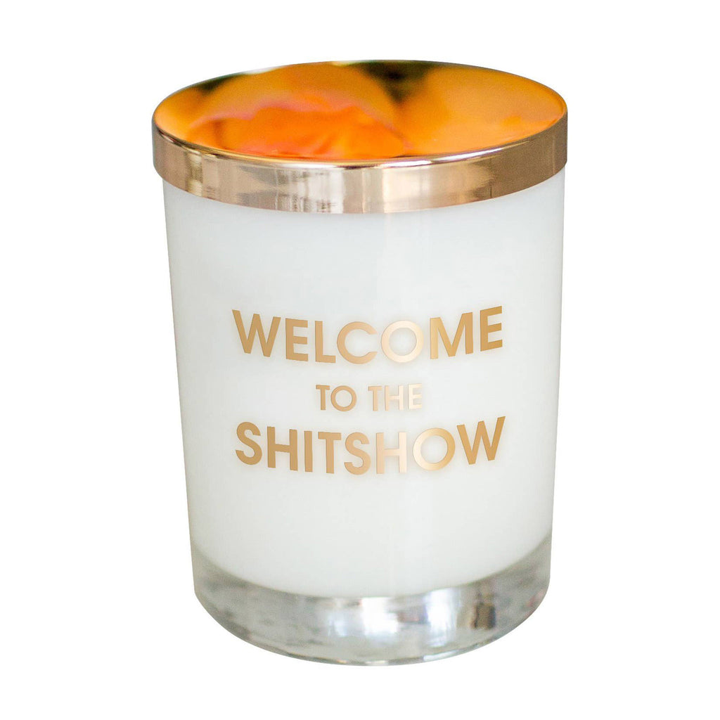 chez gagne welcome to the shitshow scented candle in a rocks glass with gold lid