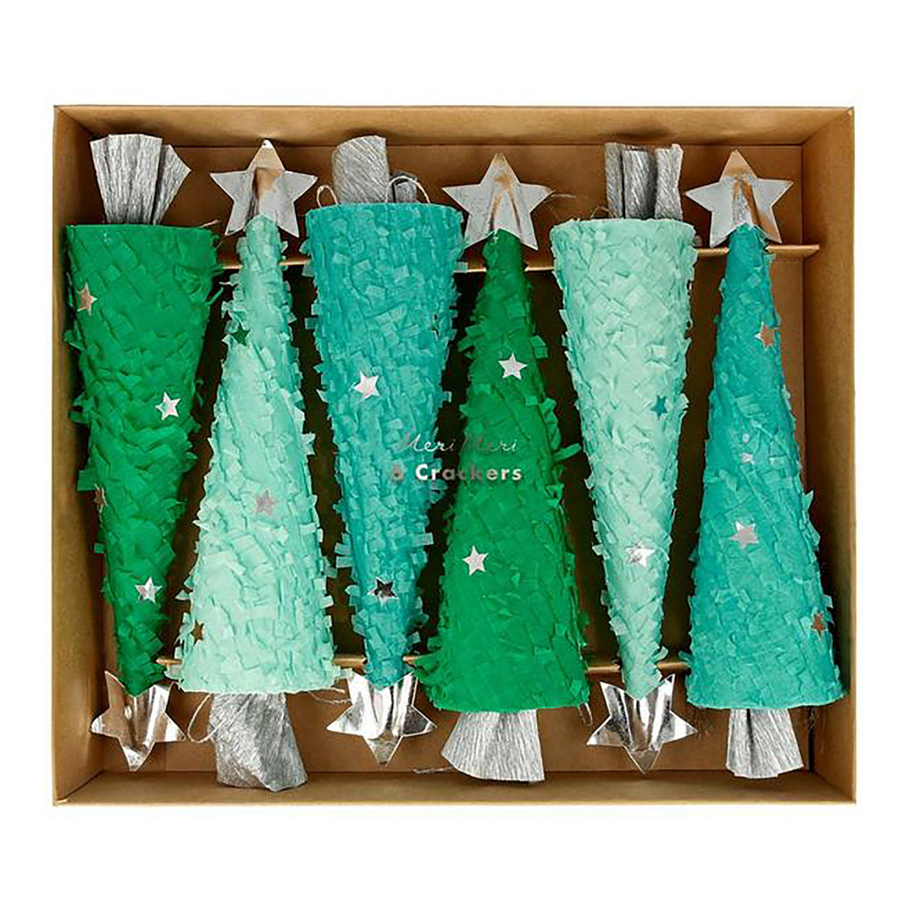 set of 6 fringed christmas tree shaped crackers in shades of green with silver stars