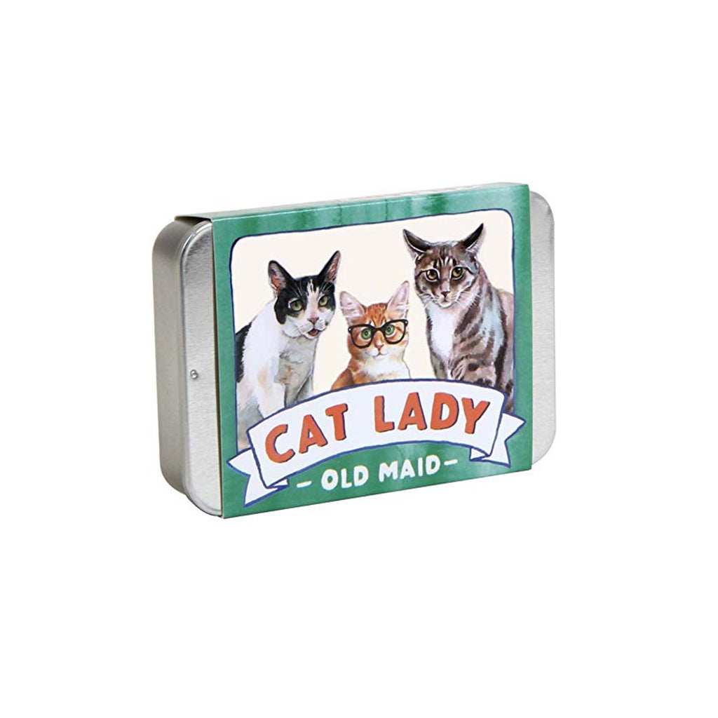 chronicle cat lady old maid playing cards in tin packaging