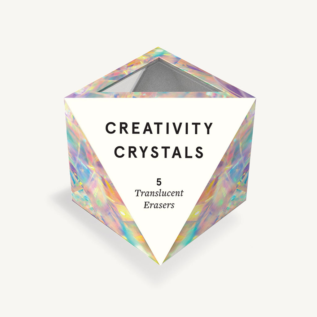 chronicle creativity crystals translucent pencil erasers set of 5 in packaging