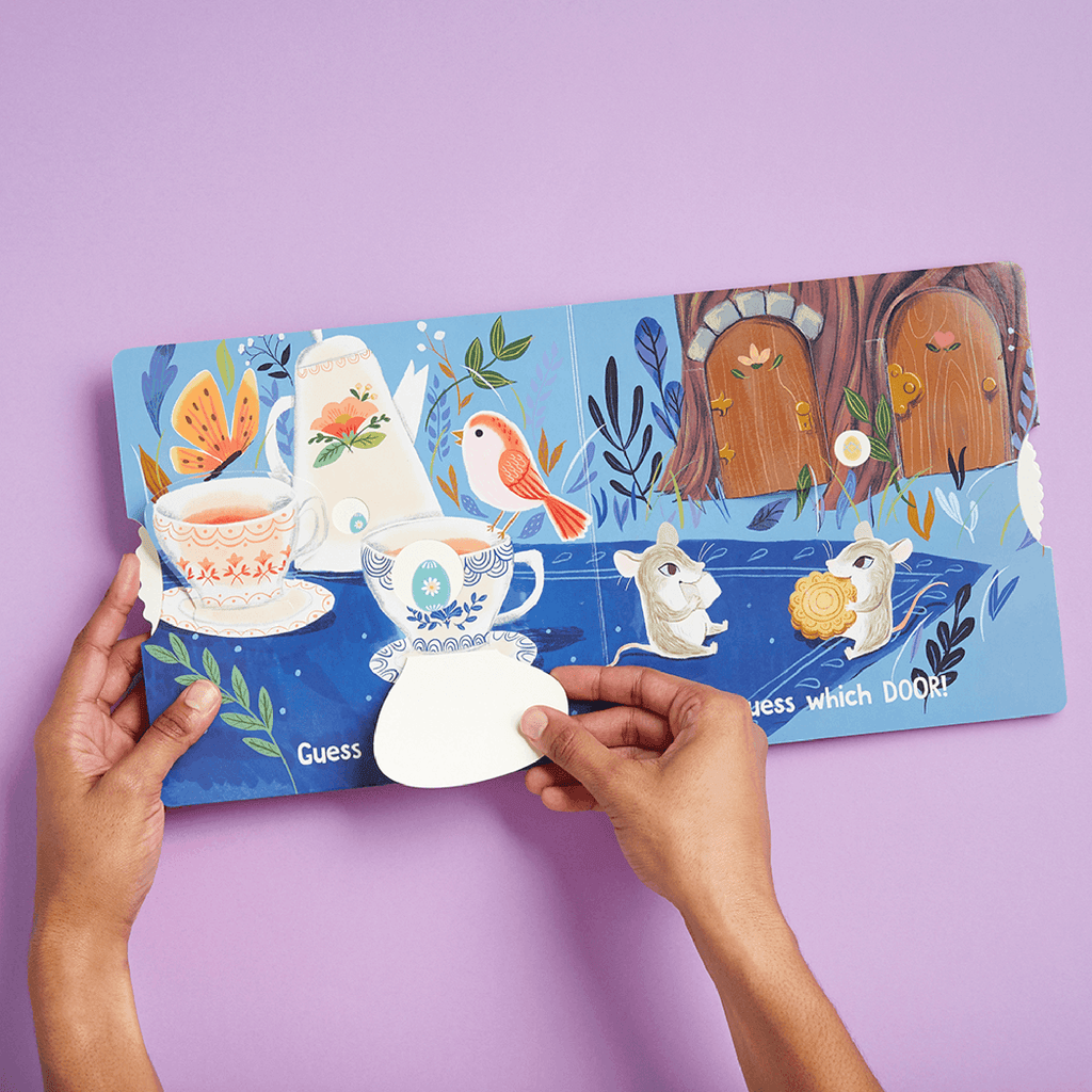 chronicle eggs are everywhere interactive easter baby board book hiding in teacup page