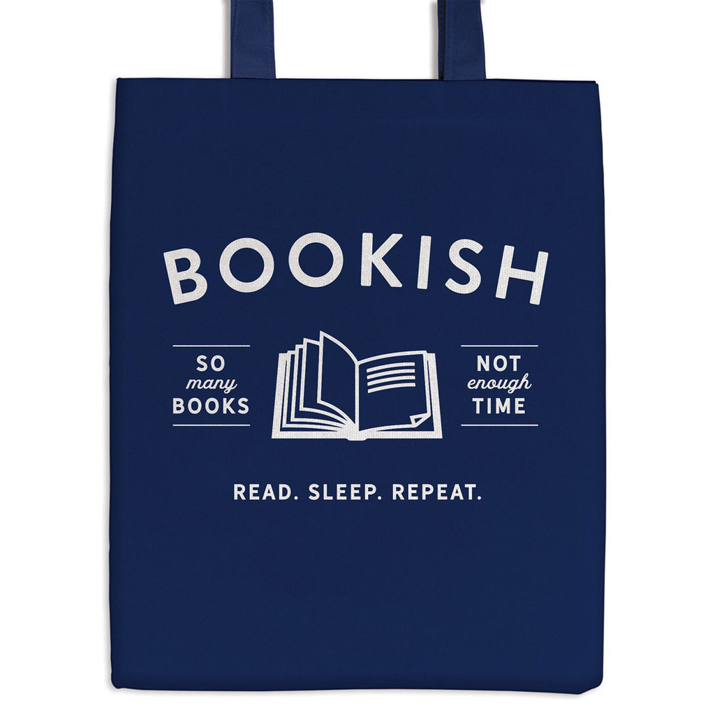 chronicle galison bookish blue canvas reusable tote bag