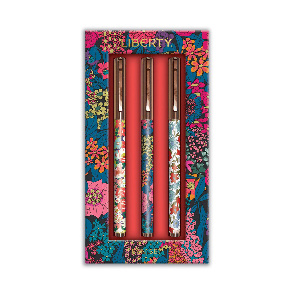 chronicle galison liberty london floral everyday pen set in packaging
