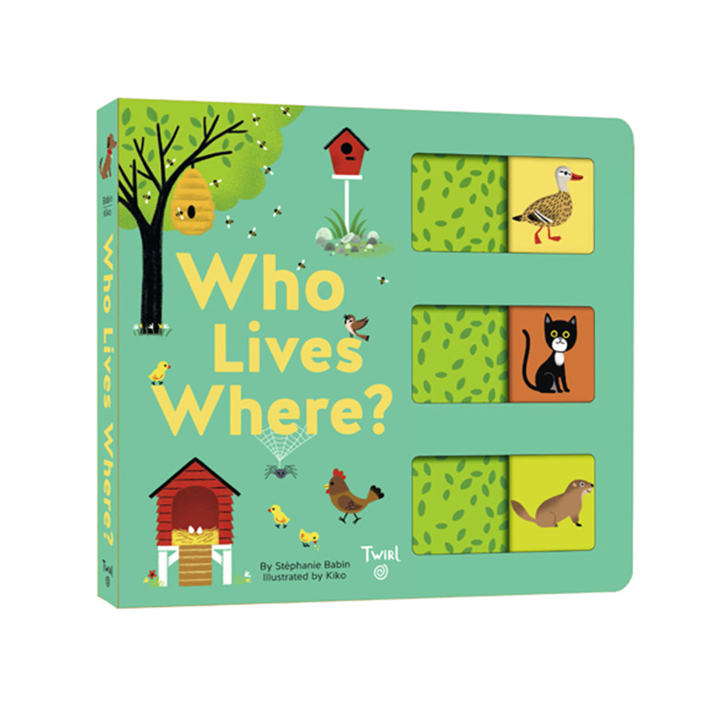 chronicle hardie grant who lives where? interactive slide and learn baby board book cover