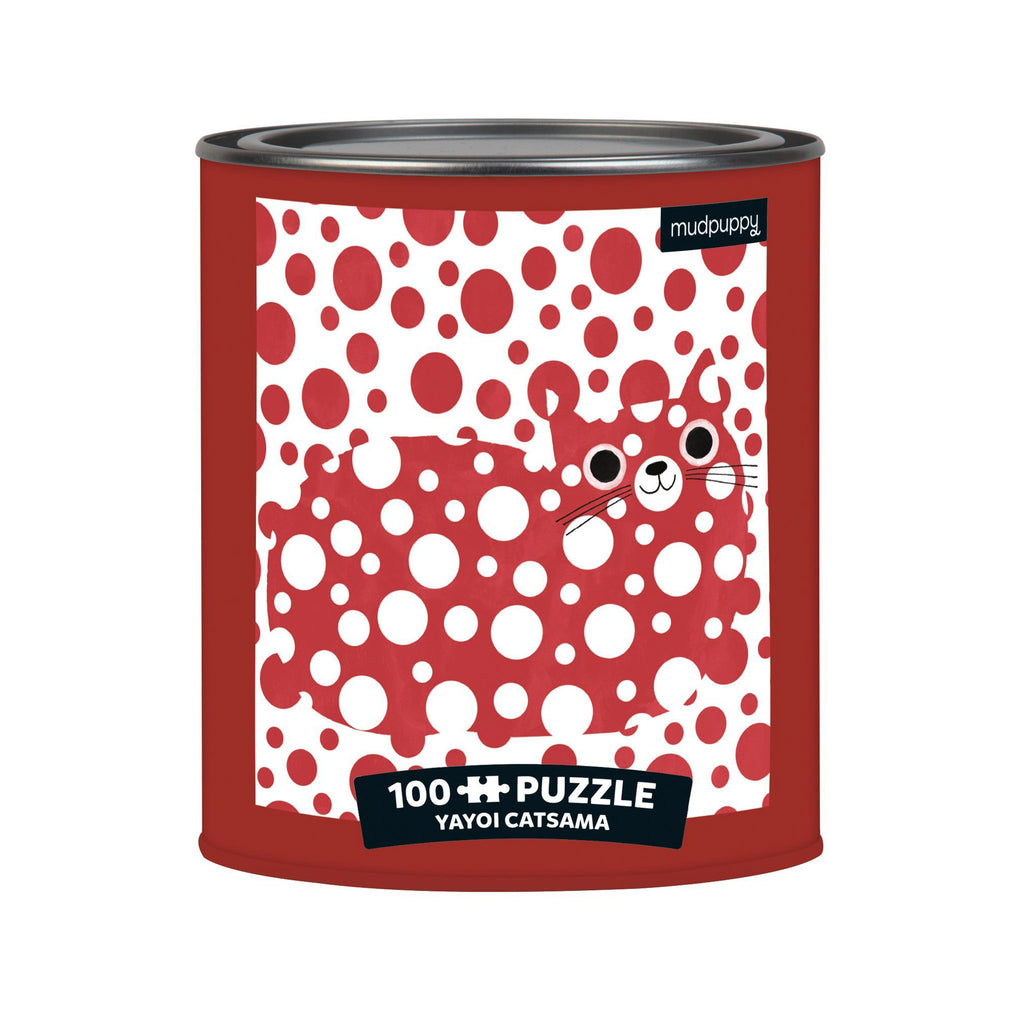 chronicle mudpuppy 100 piece yayoi catsama artsy cats jigsaw puzzle in paint can tin packaging