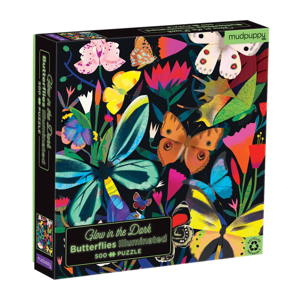 chronicle mudpuppy 500 piece glow in the dark butterflies illuminated family jigsaw puzzle box front angle