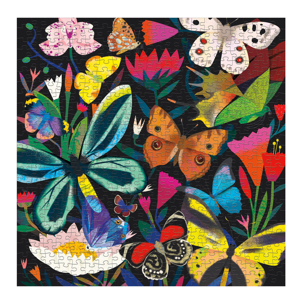 chronicle mudpuppy 500 piece glow in the dark butterflies illuminated family jigsaw puzzle completed
