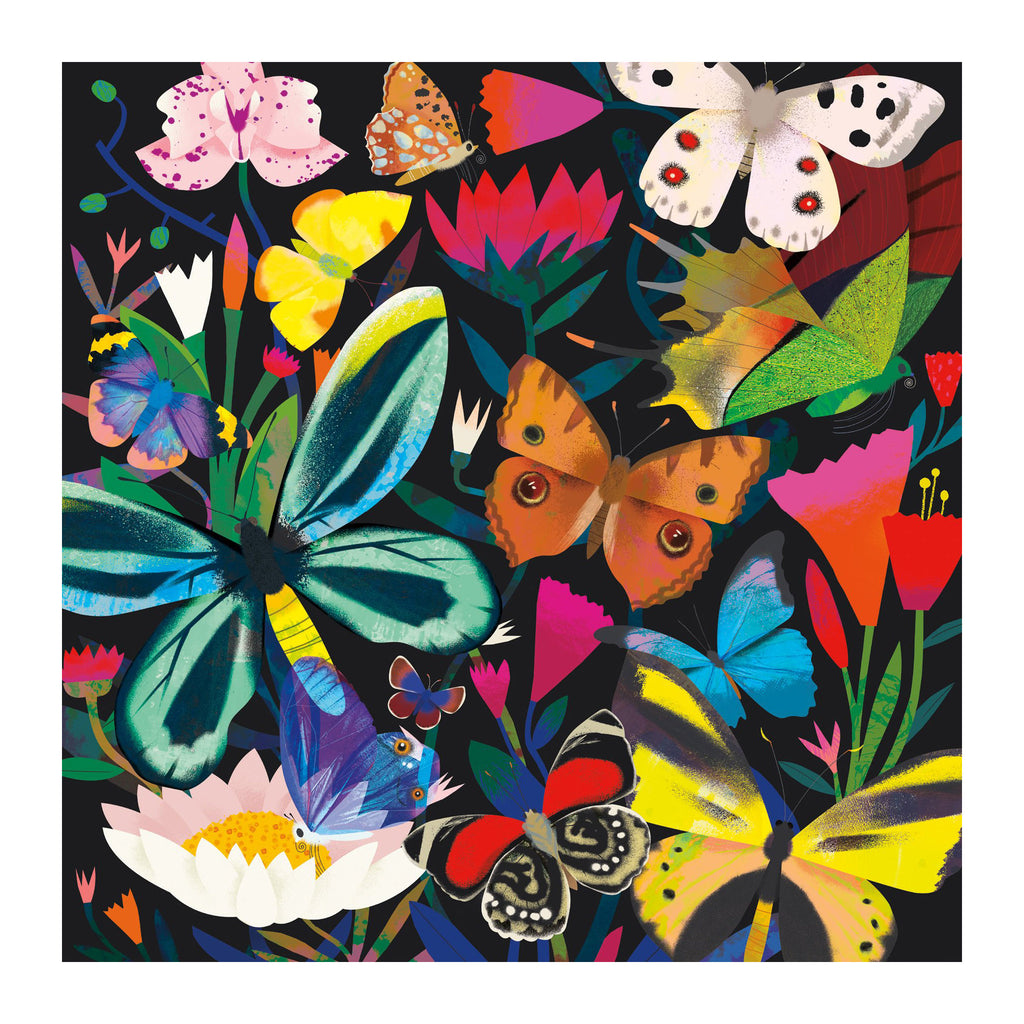 chronicle mudpuppy 500 piece glow in the dark butterflies illuminated family jigsaw puzzle original artwork