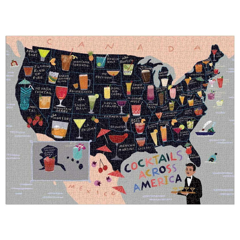 1000 piece cocktails across america jigsaw puzzle