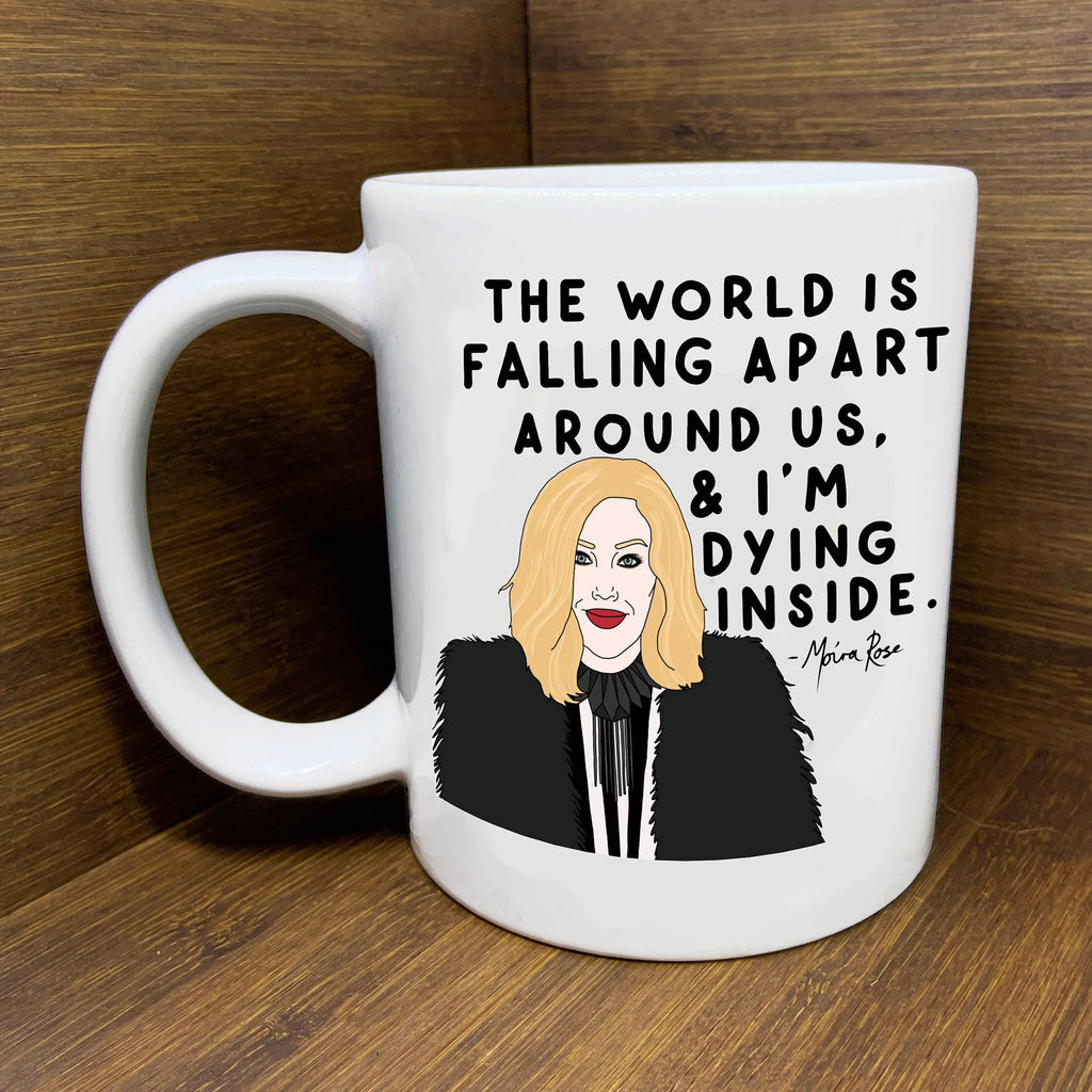 citizen ruth moira rose schitts creek the world is falling apart illustrated ceramic coffee mug