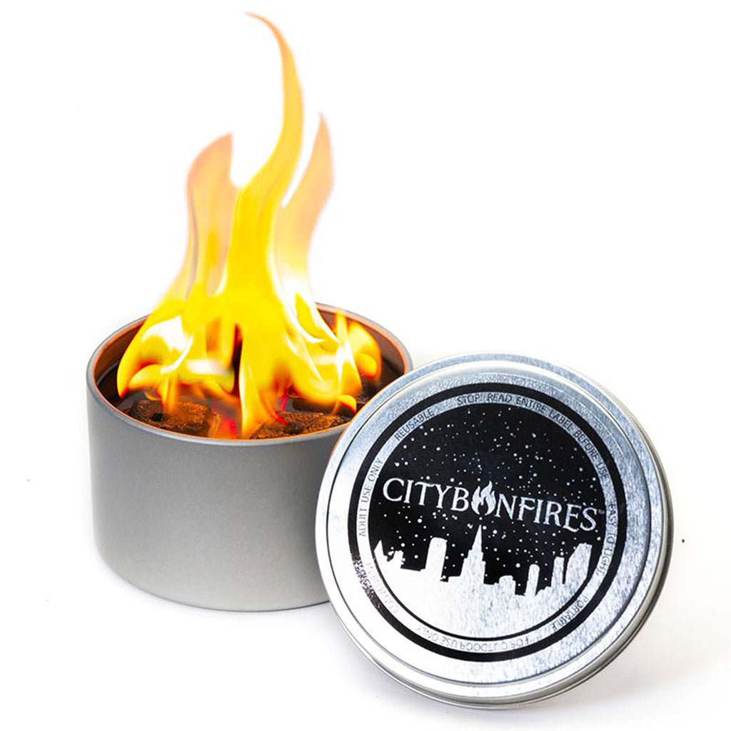 city bonfires reusable portable bonfire in a tin with lid
