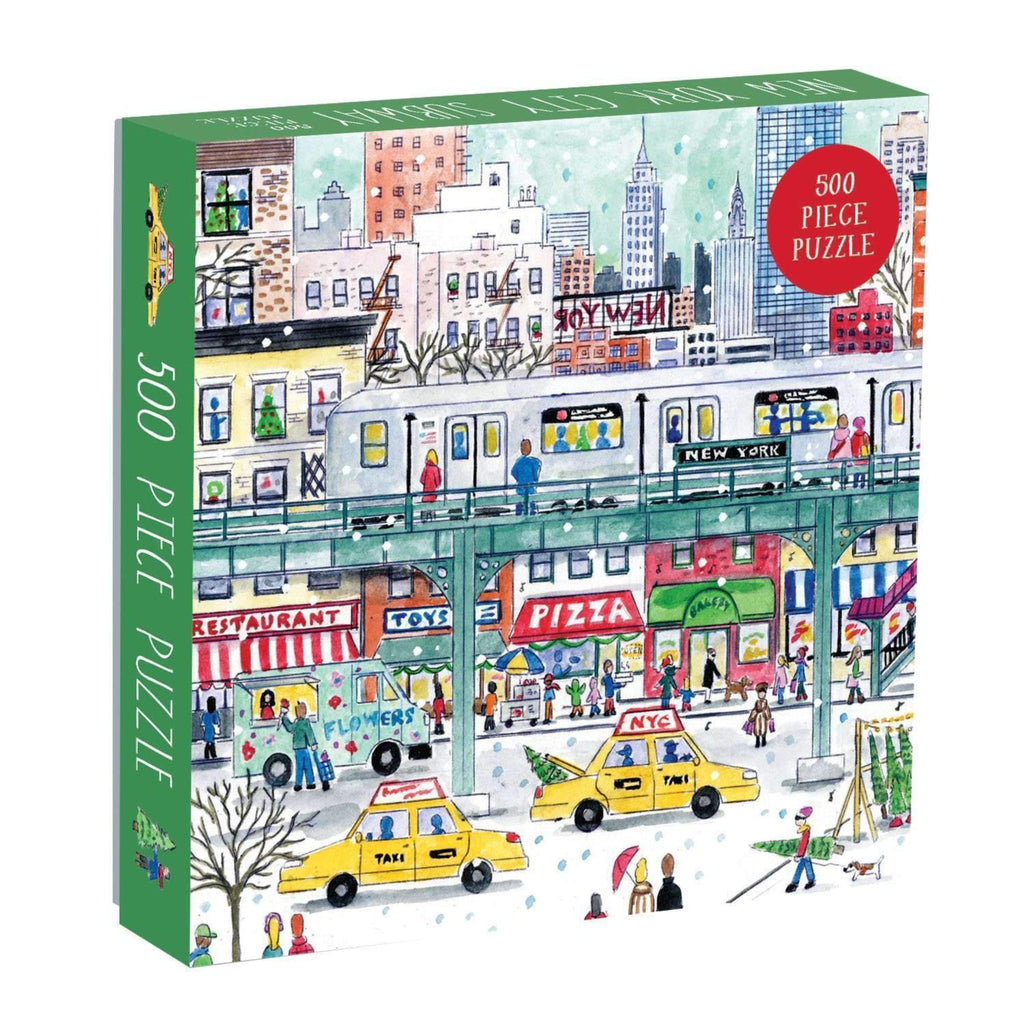 500 piece jigsaw puzzle box of illustrated new york city scene with elevated subway track