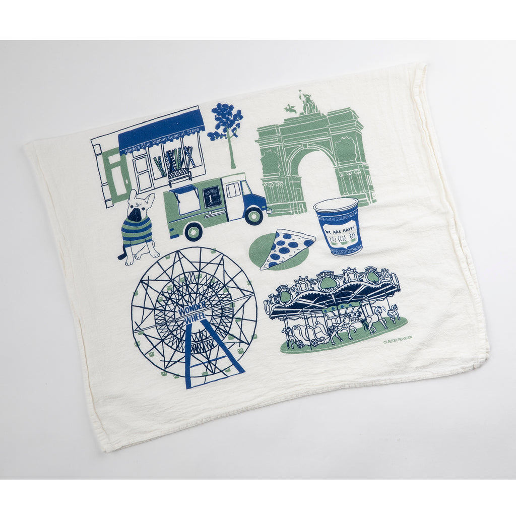 annie's blue ribbon general store tea towel flat