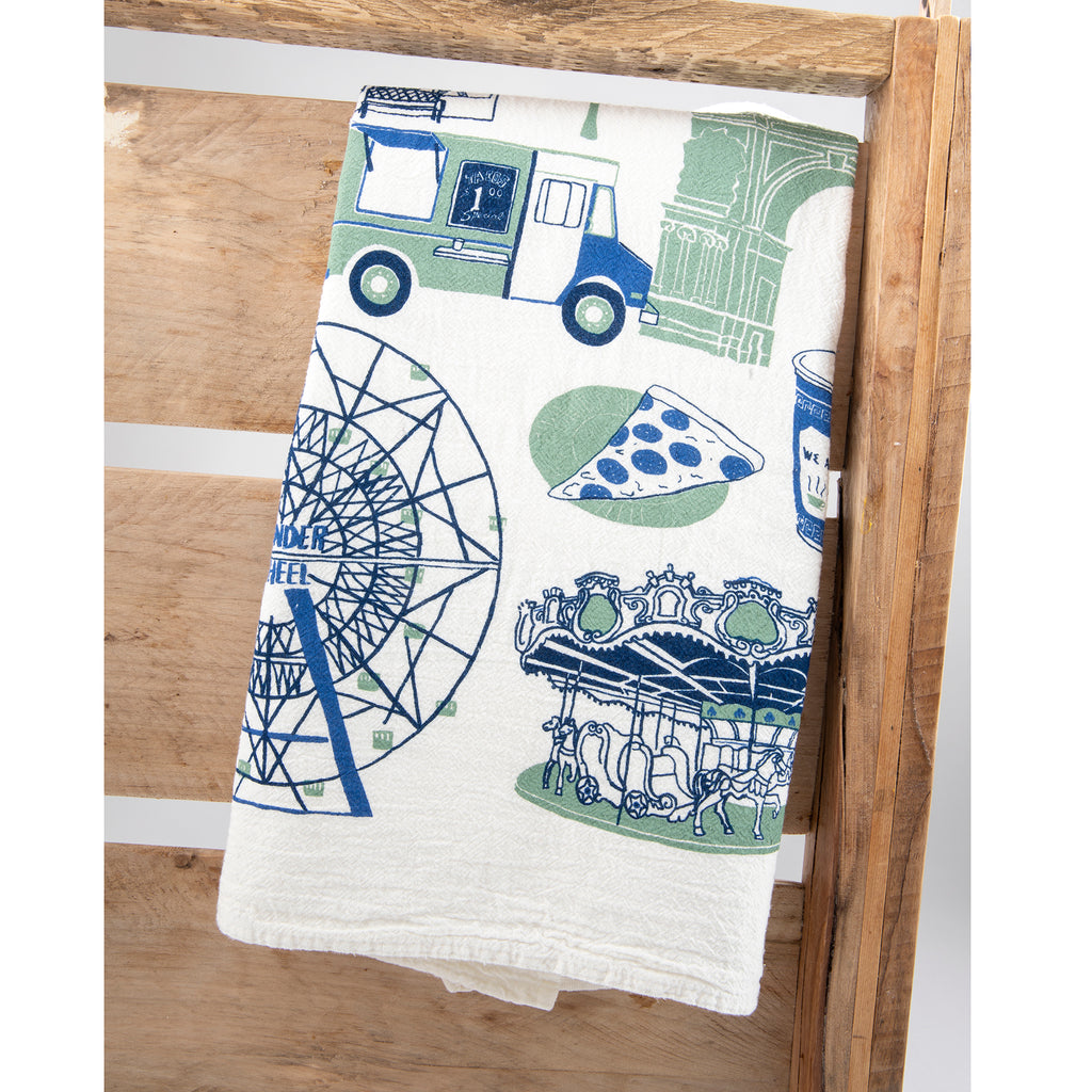 annie's blue ribbon general store tea towel folded