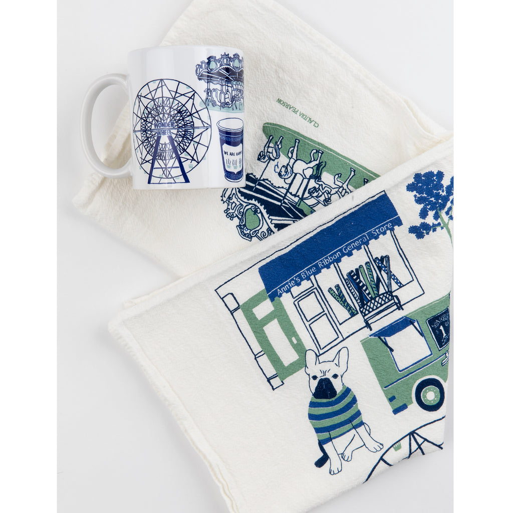 annie's blue ribbon general store tea towel and mug