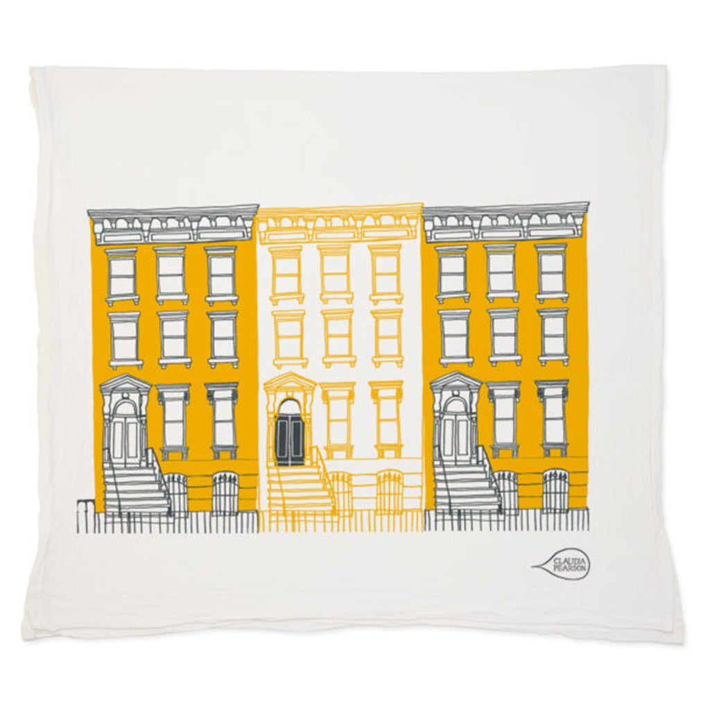 claudia pearson yellow brownstones tea towel