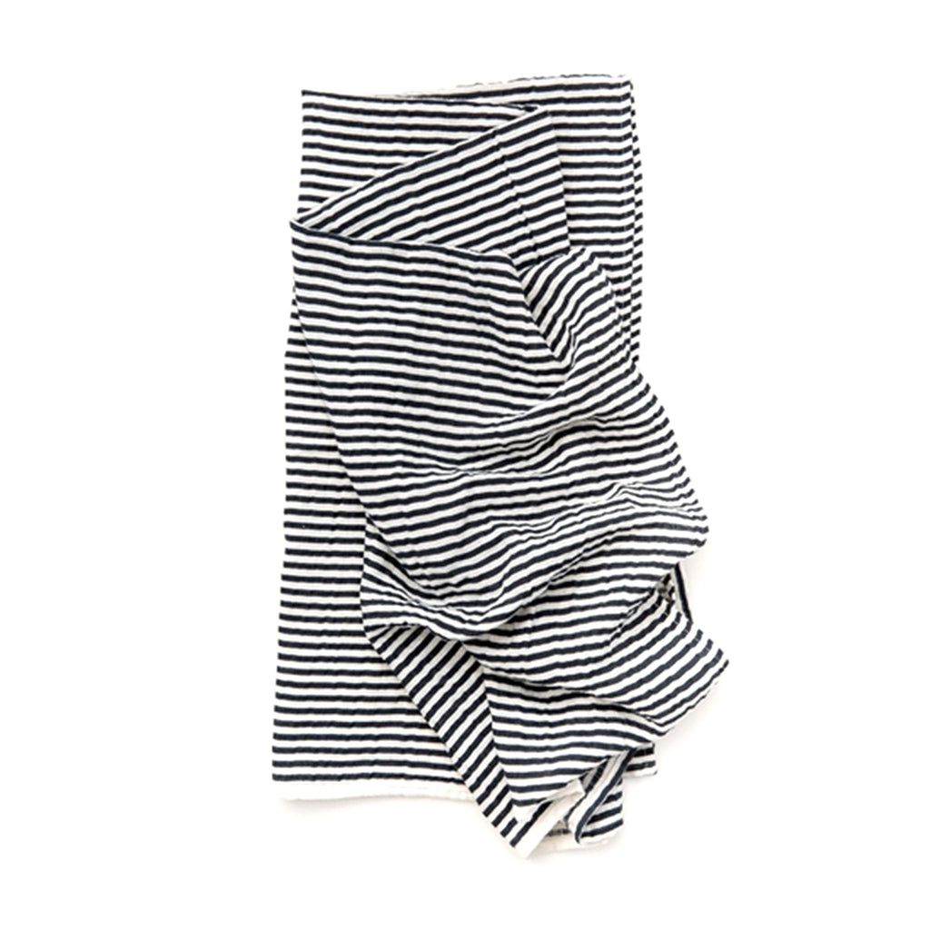 clementine kids single cotton muslin baby swaddle blanket in black and white striped pattern folded