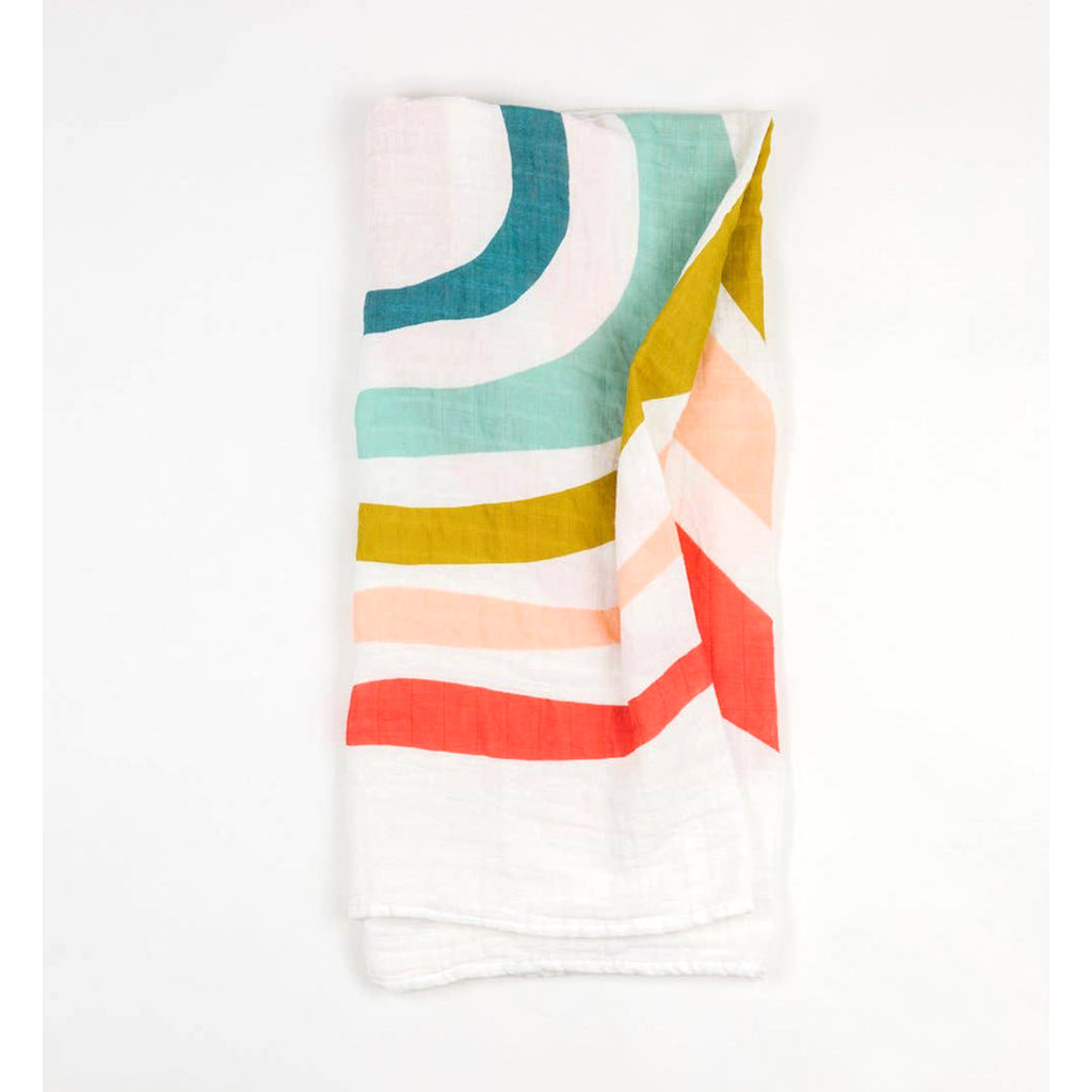 clementine kids single cotton muslin baby swaddle blanket in rainbow pattern folded